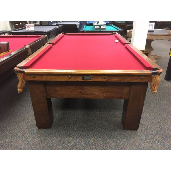 Brunswick Balke Collender Antique 9 x 4-1/2 pool table with real slate and new red felt - Image 2