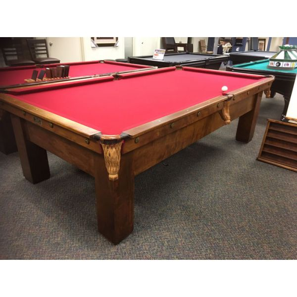Brunswick Balke Collender Antique 9 x 4-1/2 pool table with real slate and new red felt