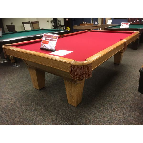Brunswick Billiards 9 x 4-1/2 foot used pool table in Medium Oak finish with tapered legs and Burgundy Red felt - Image 1