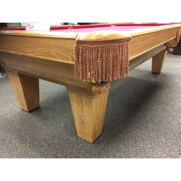 Brunswick Billiards 9 x 4-1/2 foot used pool table in Medium Oak finish with tapered legs and Burgundy Red felt - Image 2