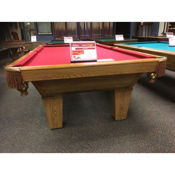 Brunswick Billiards 9 x 4-1/2 foot used pool table in Medium Oak finish with tapered legs and Burgundy Red felt - Image 3