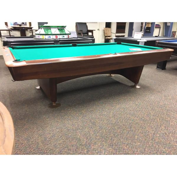 Brunswick Gold Crown 9 foot used classic vintage antique slate pool table  - Side angle view 2