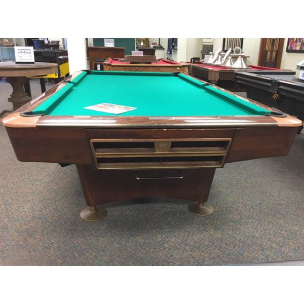 Brunswick Gold Crown 9 foot used classic vintage antique slate pool table  - Front view