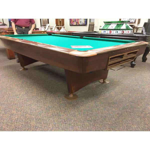 Brunswick Gold Crown 9 foot used classic vintage antique slate pool table  - Side angle view