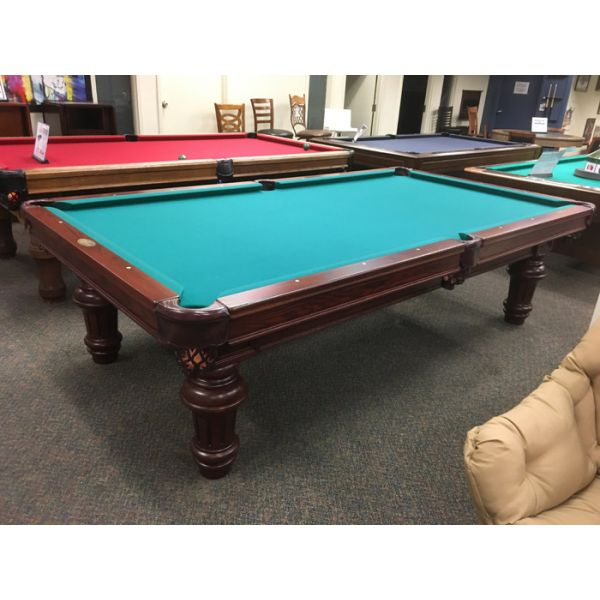 Demonstrator floor model Palason Sentinelle 9 foot classic turned leg, natural slate pool table with genuine leather pockets