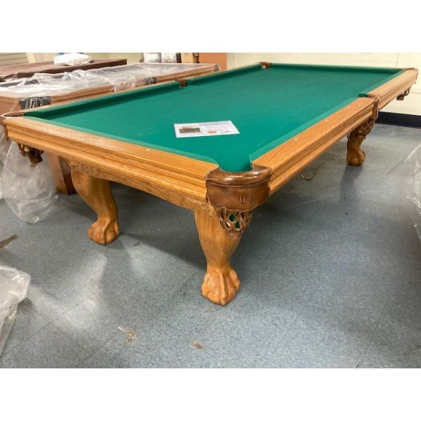 Used Palason Victoria 9 x 4.5 foot pool table model with real slate and genuine leather pockets
