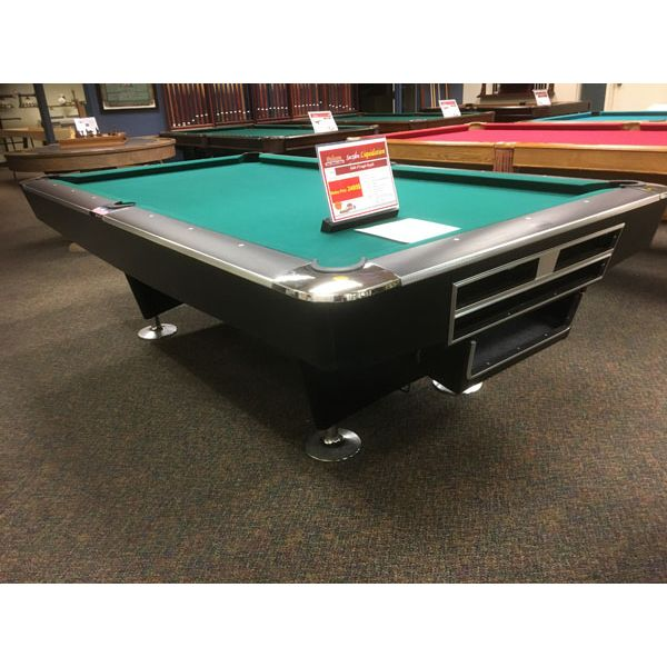 Modern black used Majestic Billiards 8 x 4 foot commercial style pool table with automatic ball return - Image 1