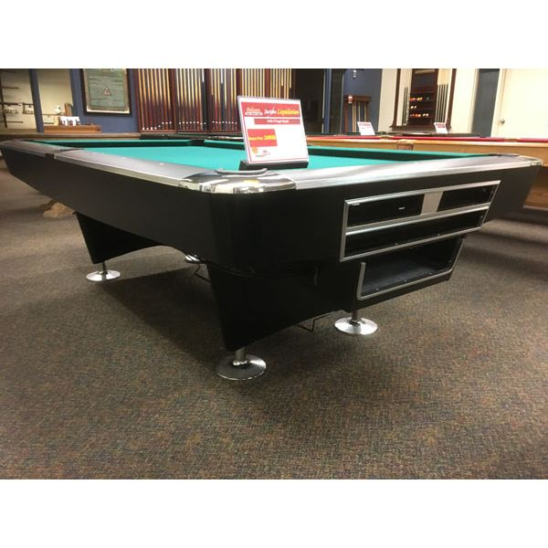 Modern black used Majestic Billiards 8 x 4 foot commercial style pool table with automatic ball return - Image 2