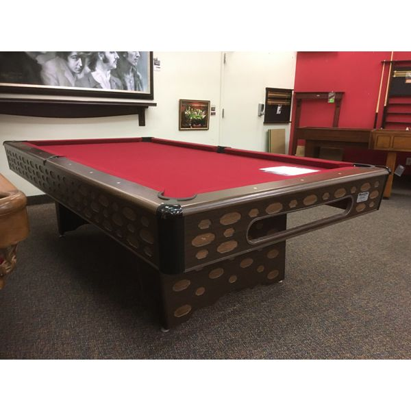 Used retro vintage original looking 8 x 4 second hand pool table with real slate and new red felt - Image 1