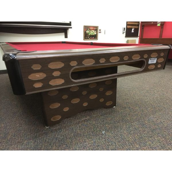 Used retro vintage original looking 8 x 4 second hand pool table with real slate and new red felt - Image 2