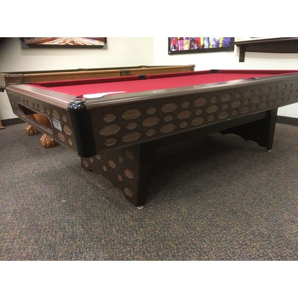 Used retro vintage original looking 8 x 4 second hand pool table with real slate and new red felt - Image 4