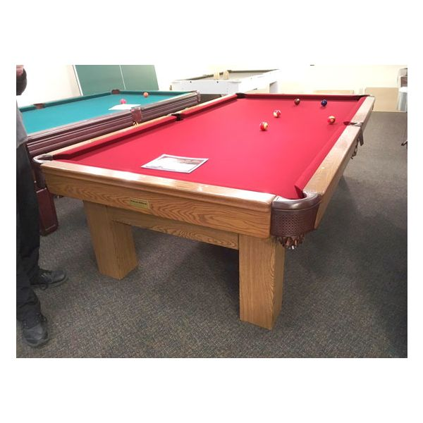 Used medium Oak finish Palason Deluxe pool table with square legs and red felt cloth - 1