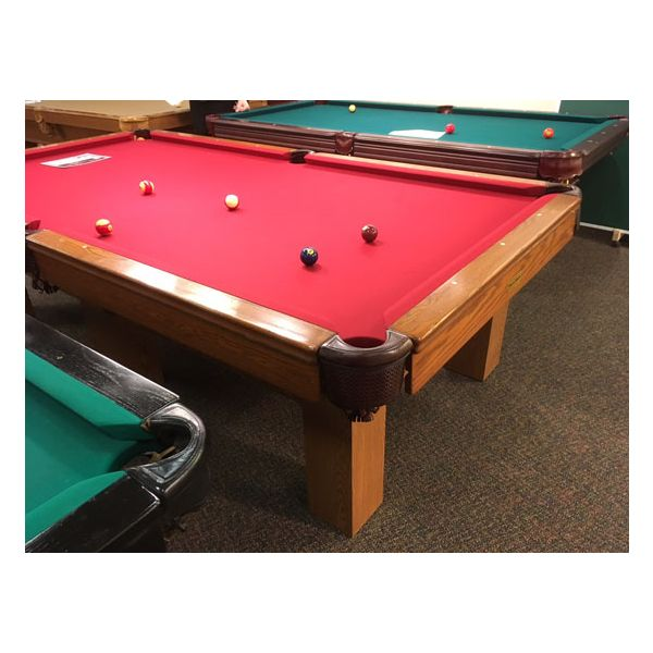 Used medium Oak finish Palason Deluxe pool table with square legs and red felt cloth - 7
