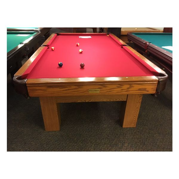 Used medium Oak finish Palason Deluxe pool table with square legs and red felt cloth - 5