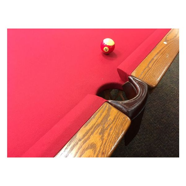 Used medium Oak finish Palason Deluxe pool table with square legs and red felt cloth - 2