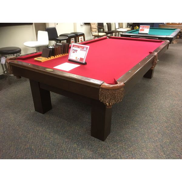 Used premium quality 9 x 4-1/2 foot Palason Deluxe second hand pool table with real slate and genuine leather pockets - Image 1