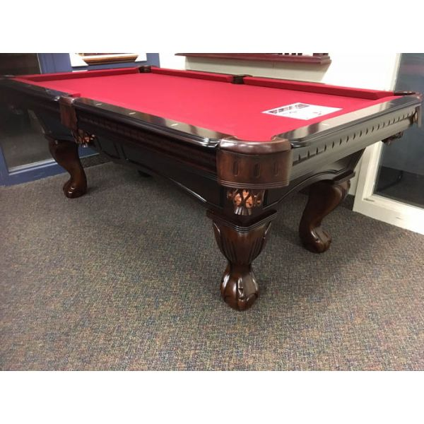 7 foot format pool table made with solid hard wood, carved legs, real slate and genuine leather pockets - IMG 1