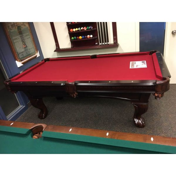 7 foot format pool table made with solid hard wood, carved legs, real slate and genuine leather pockets - IMG 2