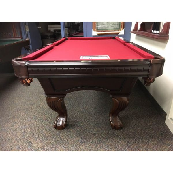 7 foot format pool table made with solid hard wood, carved legs, real slate and genuine leather pockets - IMG front view