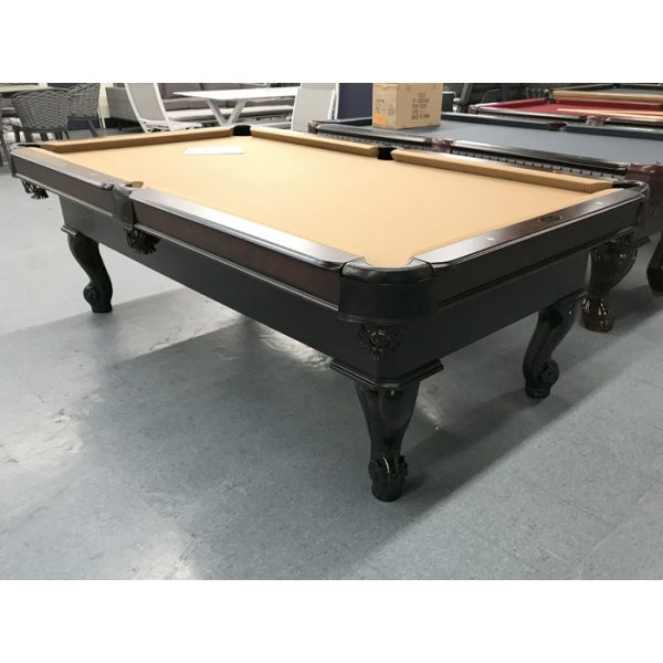Palason Uni-Body 8 foot new demonstrator floor model pool table with Black and Walnut finish, black leather pockets and Sahara Beige cloth