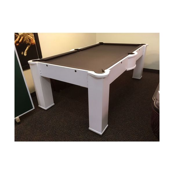 Used wood bed 7 foot white pool table with black cloth 1