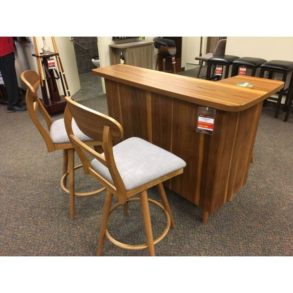 Teak finish Bar vintage looking new furniture piece with optional barstools