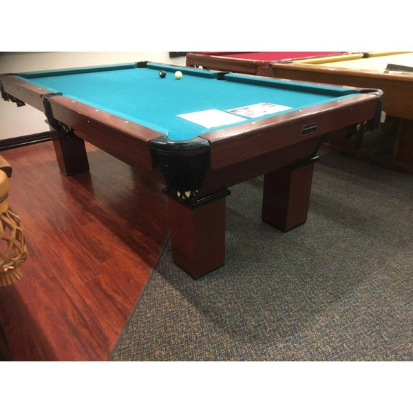 Used Palason St-Laurent 8 x 4 second hand pool table witt real slate and genuine leather pockets. Made with solid Oak wood top and side rails, wood veneer structure and legs - Image 1