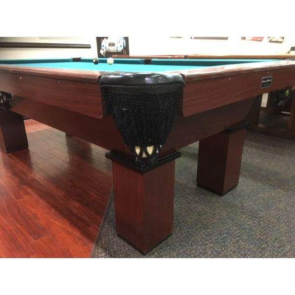 Used Palason St-Laurent 8 x 4 second hand pool table witt real slate and genuine leather pockets. Made with solid Oak wood top and side rails, wood veneer structure and legs - Image 2