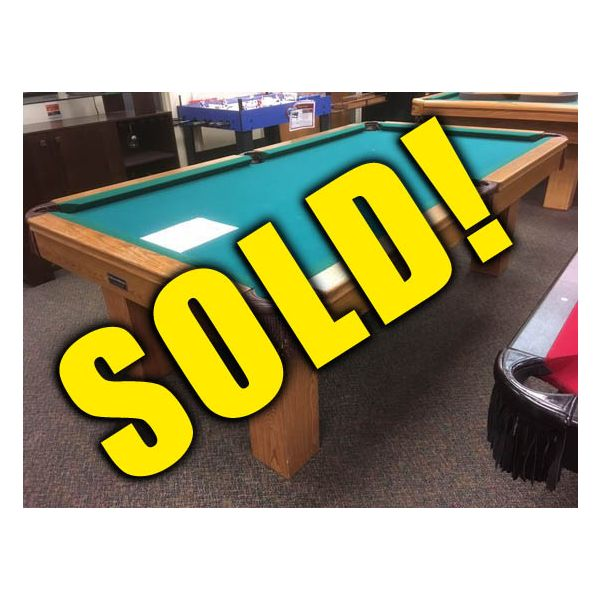 Used 8 x 4 Palason Deluxe Medium finish pool table with solid Oak rails - 1