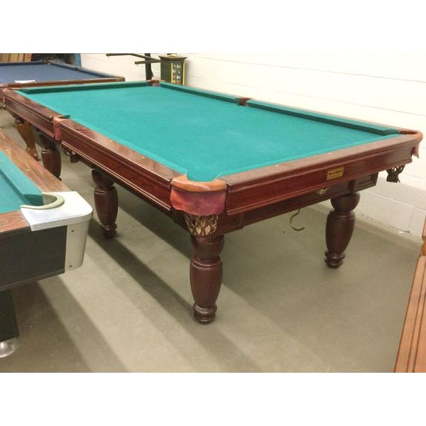 Second hand premium quality solid Oak wood Palason Sentinelle 9 foot used pool table with genuine leather pockets and real slate - picture 1