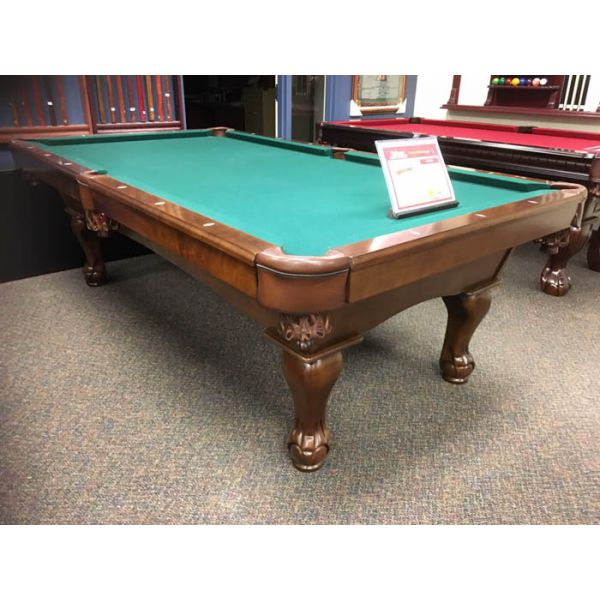 Demonstrator floor model 8 x 4 foot slate pool table with hard wood carved ball and claw legs - Picture 1