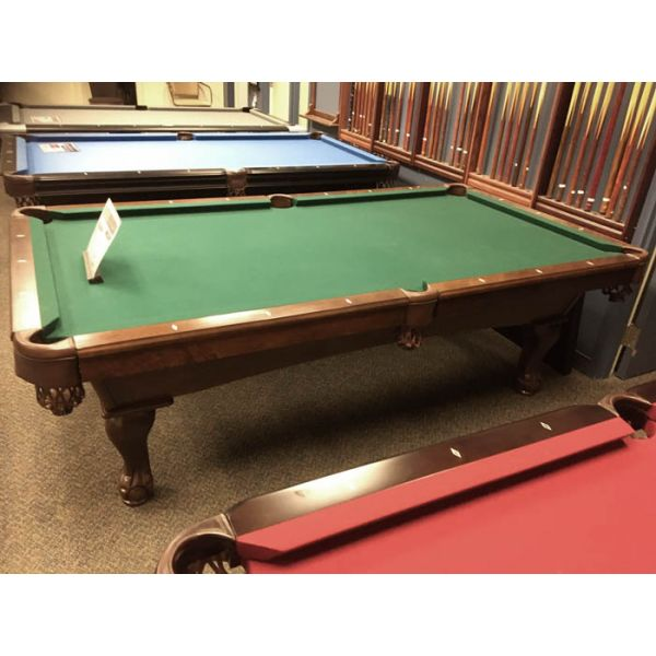Demonstrator floor model 8 x 4 foot slate pool table with hard wood carved ball and claw legs - Picture 3