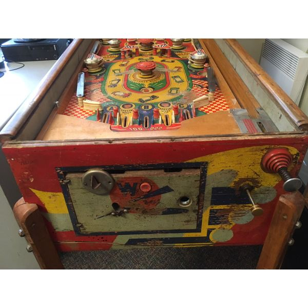 Williams Struggle Buggies 1953 vintage antique flipper woodrail pinball machine with maple wood rail set and original legs - image 11