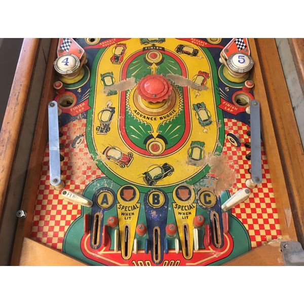 Williams Struggle Buggies 1953 vintage antique flipper woodrail pinball machine with maple wood rail set and original legs - image 4