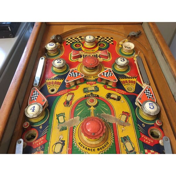 Williams Struggle Buggies 1953 vintage antique flipper woodrail pinball machine with maple wood rail set and original legs - image 3
