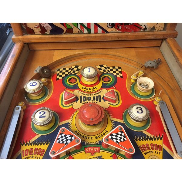 Williams Struggle Buggies 1953 vintage antique flipper woodrail pinball machine with maple wood rail set and original legs - image 8