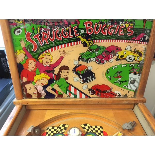 Williams Struggle Buggies 1953 vintage antique flipper woodrail pinball machine with maple wood rail set and original legs - image 2