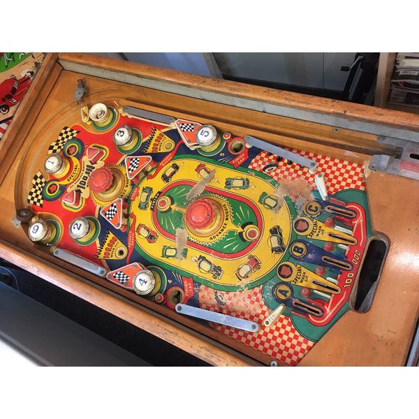 Williams Struggle Buggies 1953 vintage antique flipper woodrail pinball machine with maple wood rail set and original legs - image 6